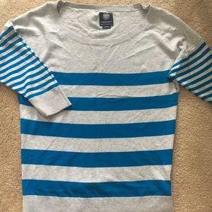American Eagle Gray/Blue Striped Sweater